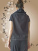 Picture of Black linen top Navy, short sleeve